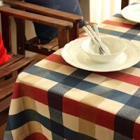 地中海欧式格子桌布棉麻布艺元旦新年餐厅圆餐桌布茶几布台布北欧 爱丁堡