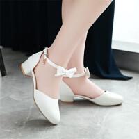 儿童包头凉鞋韩版小女孩高跟走秀演出鞋中小学生主持舞蹈鞋女童鞋