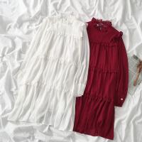 港风宽松长袖连衣裙潮2020新款春装女设计感中长款木耳边纯色裙子