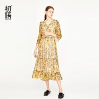 初语雪纺连衣裙仙女0春季新款名媛气质V领显瘦女神碎花裙子