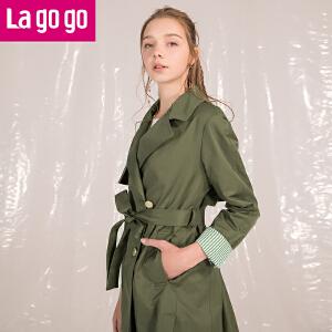 Lagogo2018春装新品军绿色双排扣绑带气质风衣中长款休闲外套女