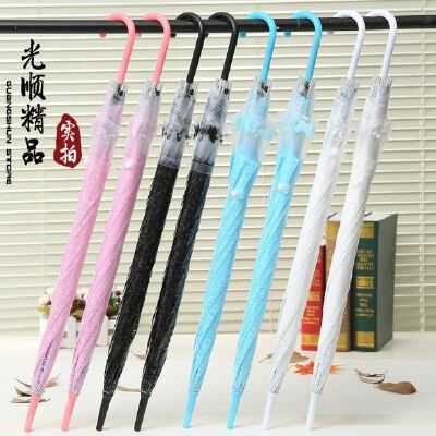 韩国创意透明蕾丝雨伞 环保长柄自动直杆雨伞 性感女士蕾丝伞