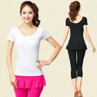 韩版女士瑜伽服舞蹈服健身服 新款瑜伽服三件套女士短袖T恤假两件裤裙裤子