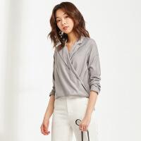 新款长袖衬衫女韩版西装领衬衣V领宽松OL气质上衣女