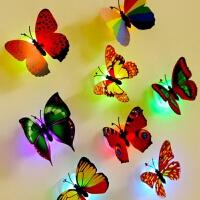 3D双层立体蝴蝶墙贴画LED夜光蝴蝶发光小夜灯卧室床头灯场景布置 中