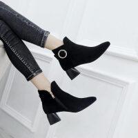 小短靴女春秋2018新款中跟磨砂粗跟裸靴方头高跟踝靴马丁靴子