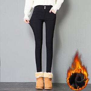 冬季新款抗寒加绒加厚小脚裤韩版洗水打底裤超柔绒弹力裤子女