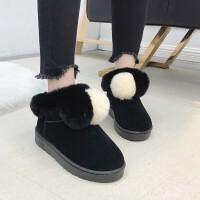 雪地靴女短筒靴韩版冬季防滑加厚学生短靴网红平底棉鞋子 黑 色