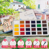 俄罗斯白夜固体水彩学生级铁盒初学者 艺术家级水彩颜料24色套装