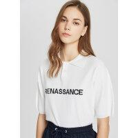 【1件4折到手价:127.6】MECITY女装夏季新款白色字母印花POLO毛衫
