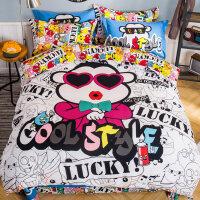 加厚卡通磨毛四件套纯棉床上全棉床单被套1.5/1.8米2.0m双人床品 江南style 2.0m(6.6英尺)床
