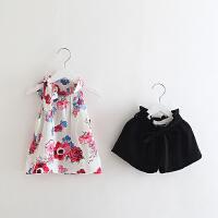 儿童吊带套装2018夏季童装韩版女童宝宝蝴蝶结上衣+短裤两件套
