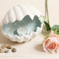客厅摆件欧式装饰品陶瓷贝壳烟灰缸仓鼠窝地中海风格创意家居烛台