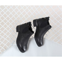 10D 荔纹牛皮圆头绒里切尔西小短靴软底女靴
