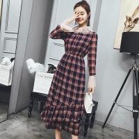 格子雪纺连衣裙女装长裙2018春装新款韩版收腰显瘦春款喇叭袖裙子 图片上
