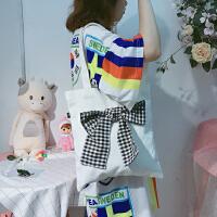 韩国少女心软妹单肩包可爱清新格子蝴蝶结百搭夏季帆布包学生女包