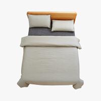 当当优品家纺 纯棉日式色织水洗棉床品 1.8米床 床笠四件套 条纹黑茶