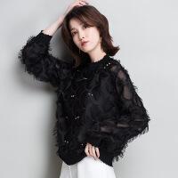 新款纯色雪纺衫女装2018春季韩版拼接套头圆领上衣短款羽毛长袖女 黑色 XXL