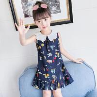 女童裙子新款韩版儿童洋气夏装碎花裙宝宝纯棉娃娃领连衣裙夏