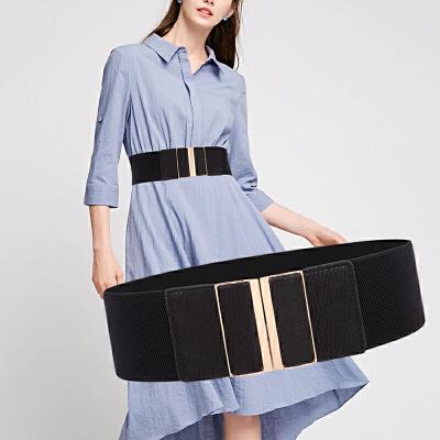 腰带女宽腰带时尚女士腰封皮带搭配裙子女式宽皮带松紧宽腰带冬新