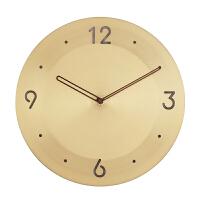 挂钟客厅墙壁钟表样板房酒店别墅高端装饰黄铜挂钟简约挂钟钟表 12英寸