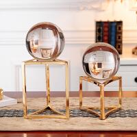 家居美式装饰品水晶球摆件欧式客厅电视柜书柜办公室酒柜摆设