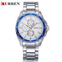 CURREN 卡瑞恩8076防水大表盘石英手表流行商务军事钢带腕表外卖