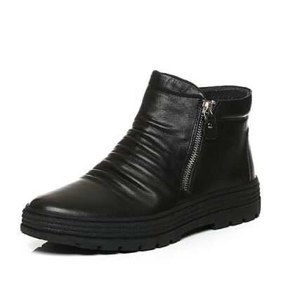 Belle/百丽冬季专柜同款黑牛皮革男休闲靴(绒里)4PF11DD6