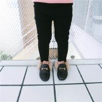 冬季新款童装女童黑色弹力加绒小脚裤长裤修身裤打底裤缺口长裤