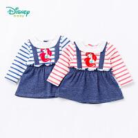 迪士尼Disney童装 女童长袖t恤秋季新品条纹拼接娃娃上衣宝宝假两件打底休闲服183S1024