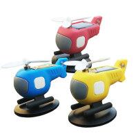 太阳能汽车摆件直升飞机车载装饰小黄蜂造型创意男女友搪胶耐摔