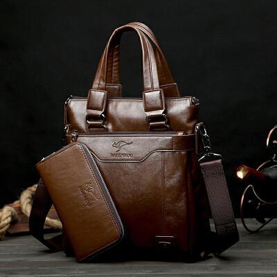 男包手提包横款真皮商务软皮头层牛皮公文包单肩斜挎男士包包