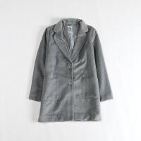 女秋冬中长款毛呢外套 西装领呢子大衣简约休闲上衣3C