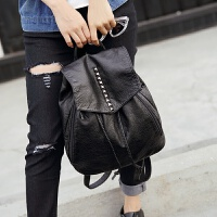 女士双肩包水洗皮韩版时尚休闲女两用背包学生学院风潮流书包 黑色