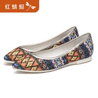 红蜻蜓女单鞋春秋新款正品民族风印花亮片舒适休闲鞋女鞋