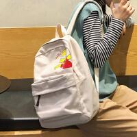 双肩包帆布女新款大学生书包高中背包