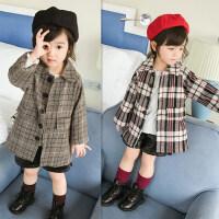女童春装外套18新款韩版格子大衣童装中长款风衣西装外套A11-S2