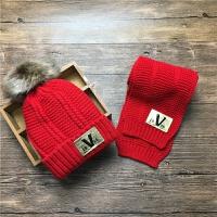 秋冬季5儿童帽子围巾两件套装6小孩冬天7男童女童围脖5韩版潮4岁3 V标 红色 均码