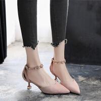 2018新款秋季高跟鞋女细跟尖头低跟3cm一字扣带中跟单鞋猫跟女鞋SN0505