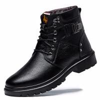 男靴冬季真皮英伦韩版加绒保暖棉鞋高帮带毛短靴马丁靴潮 黑色