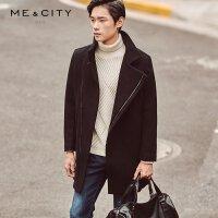 【1件3折到手价:119.97】MECITY男装斜襟修身羊毛呢大衣外套男韩版中长款