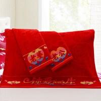 ???全棉枕巾纯棉婚庆情侣大红色提花枕巾老公老婆款一对2条