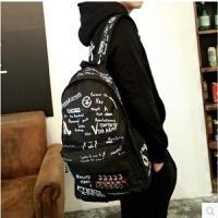 书包男中学生帆布背包韩版时尚潮流复古涂鸦双肩包休闲运动旅行包 B36黑色