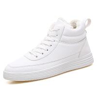 男潮鞋新款男士韩版情侣款小白鞋潮加绒百搭学生高帮板鞋二棉鞋