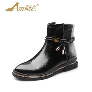 阿么2017秋冬新款低跟短靴潮流短靴子女韩版绑带学生套筒切尔西靴