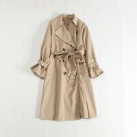 新款女春装中长款风衣 双排扣腰带宽松ol日系外套52B