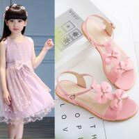 夏季小女孩真皮凉鞋新款甜美蝴蝶结百搭中小学生公主鞋