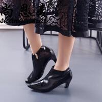 欧美漆皮高跟短靴2018秋春新款百搭侧拉链粗跟马丁靴尖头及踝裸靴
