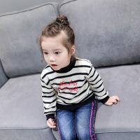 韩版童装秋冬新款时尚百搭字母加绒条纹卫衣女童打底衫A3-B9