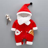 男女宝宝连体衣冬季棉加厚0一1岁婴儿外穿冬装新生儿外出圣诞衣服